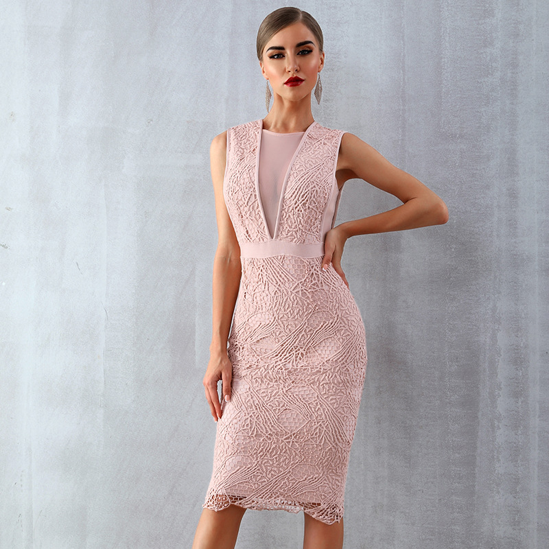 Blush Pink   Cocktail     Dresses   Illusion V Fashion Scoop Neck Lace Straight Sexy Formal Lady   Dress   Homecoming Gown In Stock