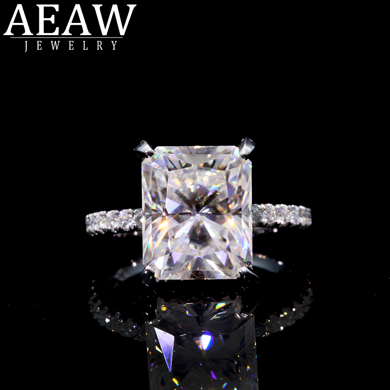 AEAW 18K White Gold Radiant Cut 4 Carat DF Moissanite  Engagement Ring Lab Diamond Solitaire Wedding For Women