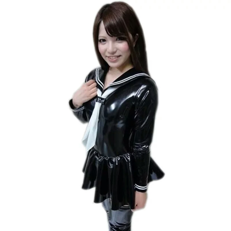 <font><b>PVC</b></font> Faux Leather Pleated <font><b>Dress</b></font> Cosplay Youth Student Sexy Lingerie Japanese Uniform Tie Maid Sailor Nightclub Erotic Costumes image