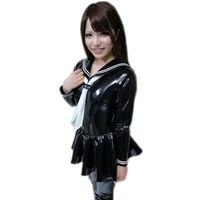 PVC Faux Leather Pleated Dress Cosplay Youth Student Sexy Lingerie Japanese Uniform Tie Maid Sailor Nightclub Erotic Costumes
