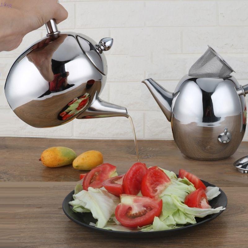 1000 ml sliver waterkoker met zeef rvs theepot 패션 duurzaam koffie koud water pot thuis thee tool-에서커피 메이커부터 가전 제품 의