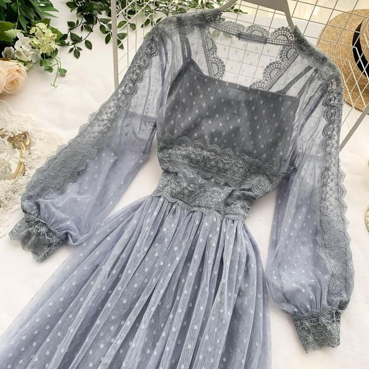 Lace Floral V-Neck Long Sleeve Polka Dot Dress 15
