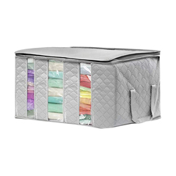 1Pc włókniny składane ubrania organizator domowe pudło do przechowywania pojemnik na kołdry torby do przechowywania pojemnik organizator Box gospodarstwa domowego szary niebieski w Składane torby do przechowywania od Dom i ogród na