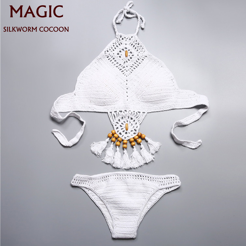 High Quality Hanging Neck Lace Up Bikini Set White Knitting Brazilian Biquini Swimsuits Push Up Swimwear Women Sexy Beachwear