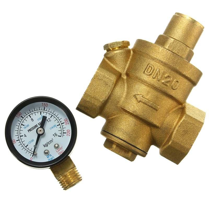 DN20 V/álvula reductora de presi/ón de agua de lat/ón de 3//4 pulgadas Control de agua ajustable V/álvula reguladora de presi/ón Rosca con medidor de 1.6MPa DN20 V/álvula reductora de presi/ón de 3//4