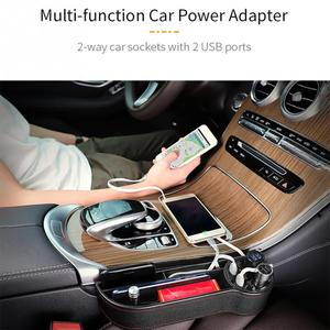 Image 2 - Органайзер для автомобильного сиденья, коробка для хранения с зазором, чехол из искусственной кожи, карман для автомобильного сиденья, Боковой разрез для ключей, кошелек, монеты, телефон, USB зарядное устройство