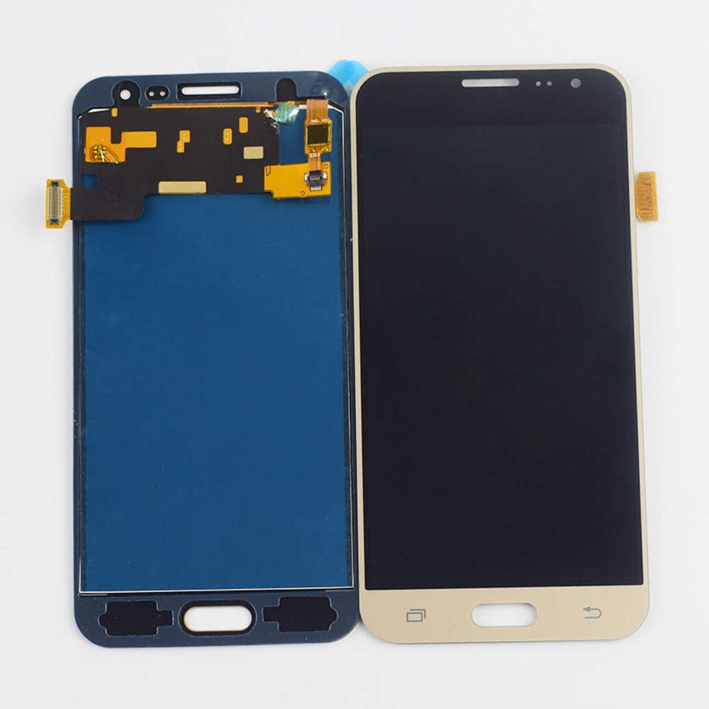 لسامسونج غالاكسي J3 2016 LCD شاشة J320 SM-320A J320F J320M J320FN J320H شاشة الكريستال السائل مجموعة المحولات الرقمية لشاشة تعمل بلمس إطار