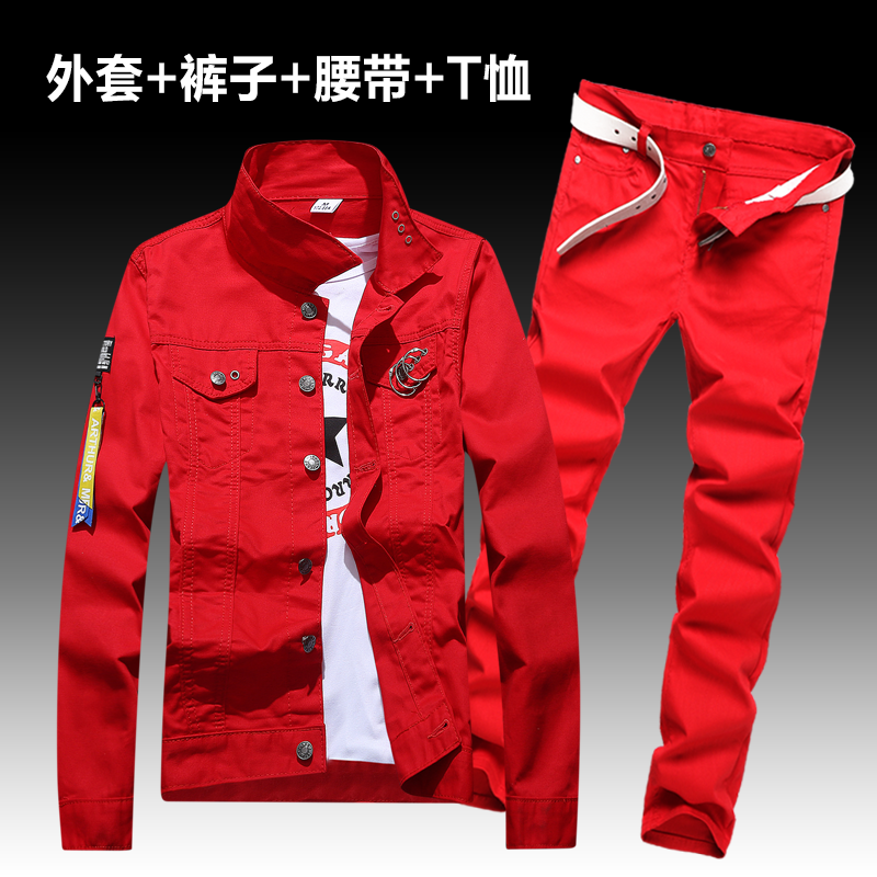 Fashion Men's Denim Coat Pants Slim Fit Holes Jacket Trousers Set 2pcs Casual Spring Autumn Outwear  Clothes Men A22