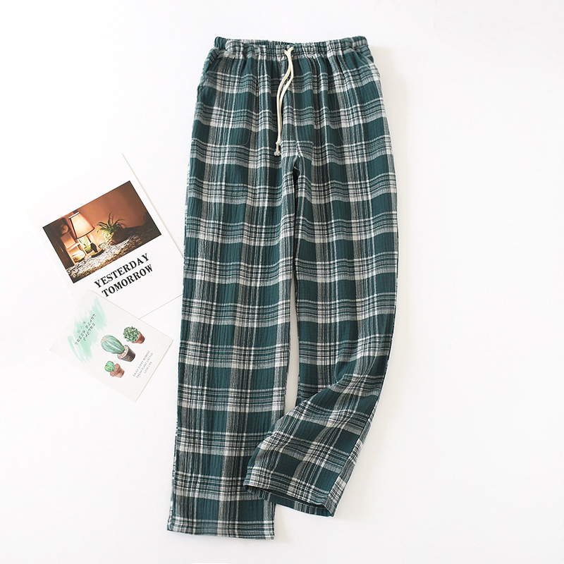Casual Couple Pajamas Pants Cotton Gauze Trousers Thin Japanese Plaid Loose Soft Men's&Women's Home Pants Long Sleep Buttoms