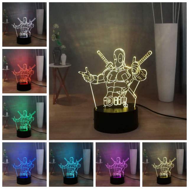 2019 HOT Marvel Deadpool Superman Batman Iron Man Spider Man Thanos LED NIGHT LIGHT USB REMOTE 3D Desk Lamp Kids Gift Multicolor