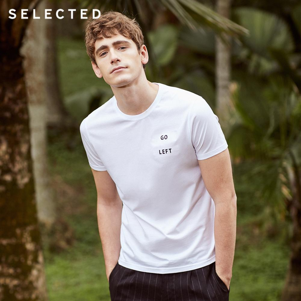 SELECTED Men's 100% Cotton Letter Print Short-sleeved T-shirt S|419201602