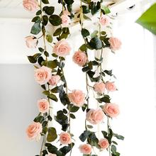 1Pcs Australia 180cm Silk Rose Flower Vine Artificial Decorative Rattan For House Wedding Background Decoration Wholesale