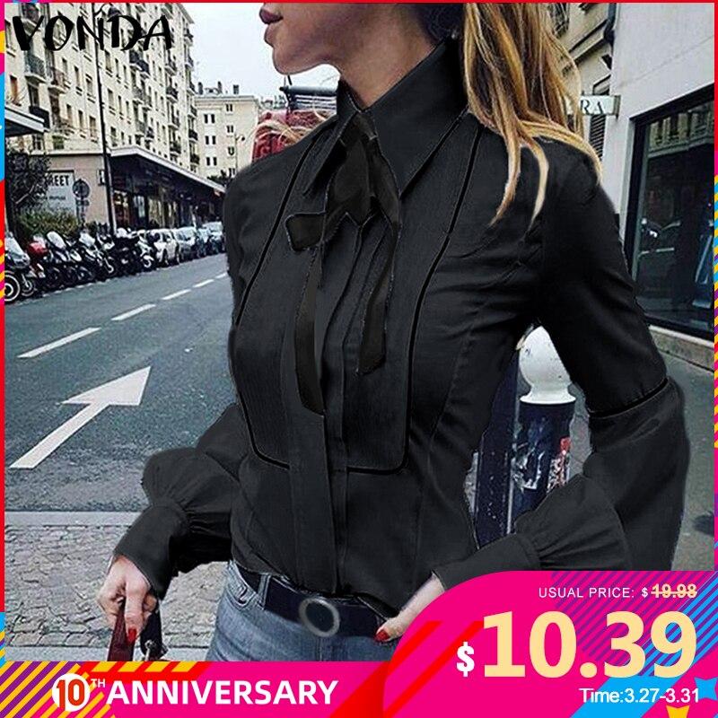 VONDA Ladies Office Shirt 2020 Autumn Blouse Women Sexy Lantern Sleeve Turn-down Collar Shirt Casual Tops Plus Size Blusas S-5XL