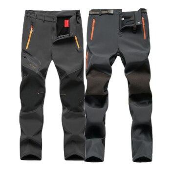 цена Oversized Men Winter Fleece Waterproof Outdoor Pants Soft shell Trousers Camp Fish Trekking Climb Hiking Sport Travel Training онлайн в 2017 году