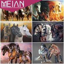 2020 Meian Horse Diamond Embroidery Mosaic Animal 5D DIY Handicraft Full Square/Round Drill Diamond Painting Horse Handmade Gift
