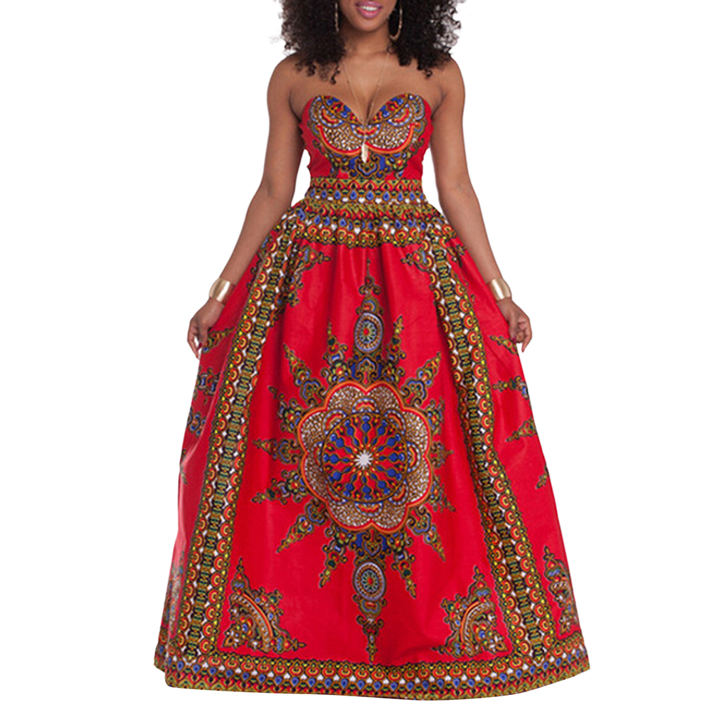 DANALA African Women Dress Suit Printed Chest Wrapped Party  Gradient  National Fashion Popular Wind