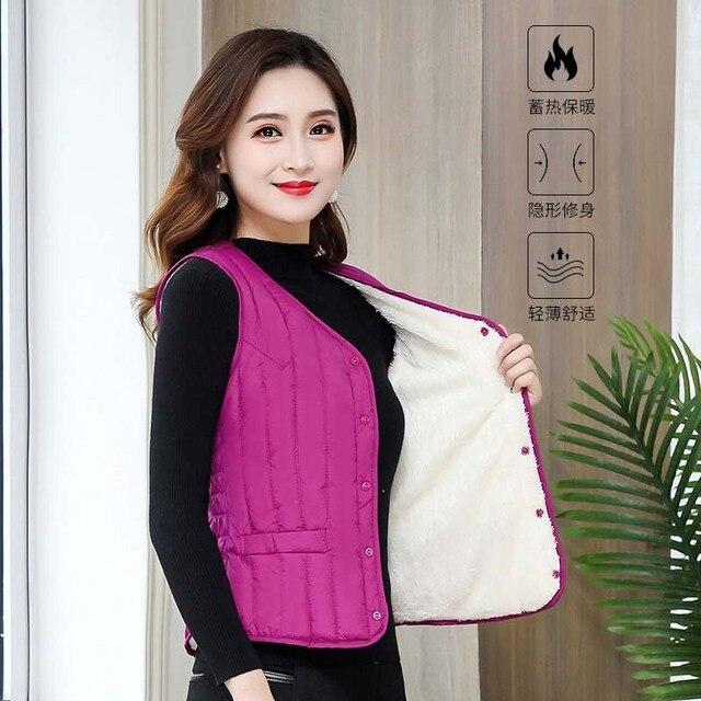 Women Sleeveless Vest Winter Warm Plus Size 4XL Down Cotton Padded Jacket villus Female Veats Slim fit Sleeveless Waistcoat 5