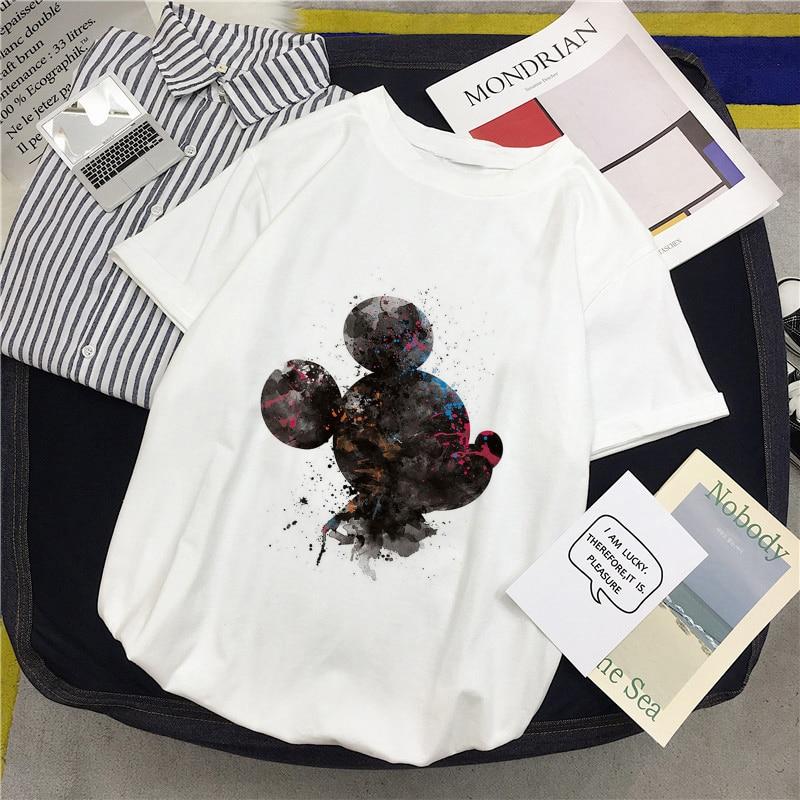 2019 New Fashion Casual Cute Mouse Print Short Sleeve T Shirt Harajuku Casual Cartoon Cute Female Short Sleeve T Shirt T-Shirts  - AliExpress