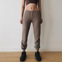 Women Side Pockets Cuffed Skinny Jogger Vintage Sweat Pants
