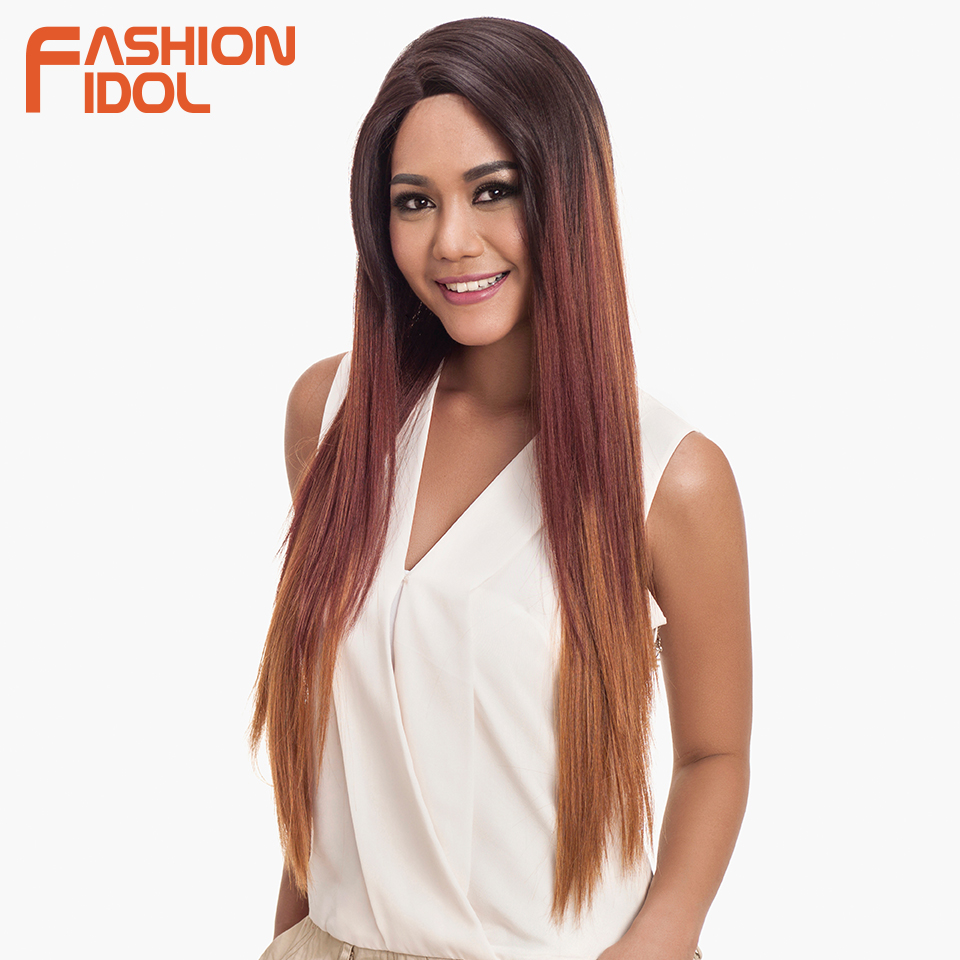FASHION IDOL Wigs For Black Women Straight Hair Long Synthetic Lace Front Wig 32 Inch Ombre Blonde Cosplay Wigs Heat Resistant