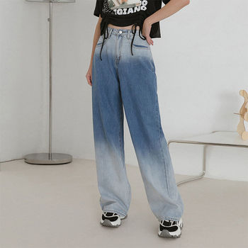 Spring vintage jeans for women mom Loose high waist jeans panelle wide leg Boyfriend jeans Straight korean denim pants full cotton 2019 wide leg women pants high waist loose straight lady jeans with pockets zippers and ripped design spring summer