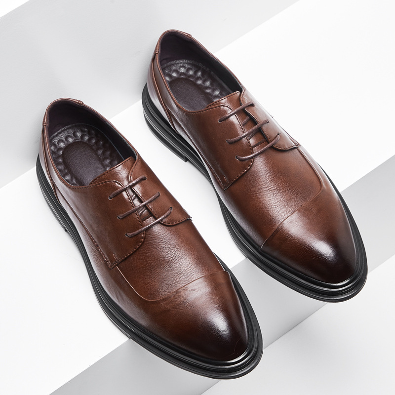 Yomior 2020 New Men Split Leather Vintage Casual Shoes Flats Formal Dress Oxfords Pointed Toe Business Wedding Loafers Shoes