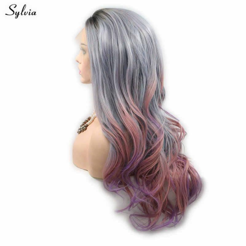 Sylvia Pastell Grau Blau Ombre Rosa Lila Mixed Farbe Natürliche Haaransatz Lange Haar Körper Welle Synthetische Spitze Front Perücken für frauen