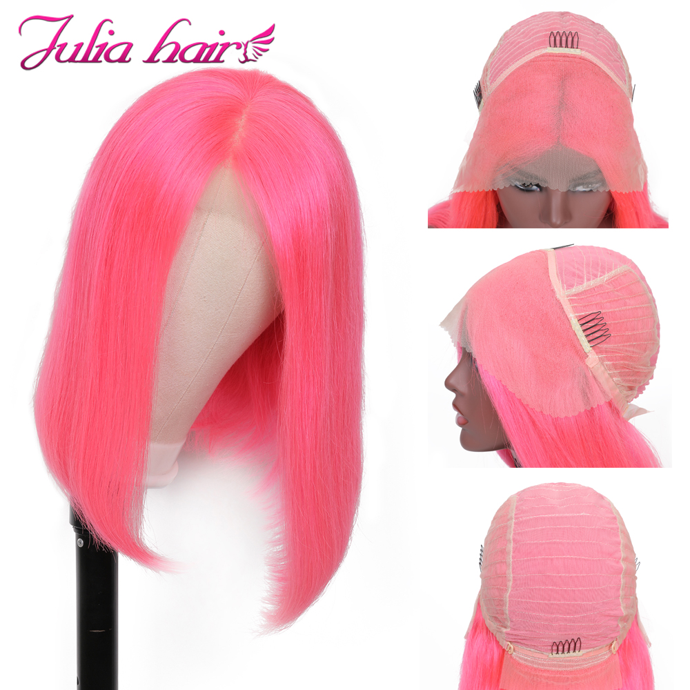 Blonde Bob Lace Front Human Hair Wigs Straight Brazilian Remy 613 Yellow Pink Green 13x4 Lace Front Short Bob Wig Pre Plucked (7)