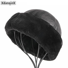 XdanqinX Winter Men's Warm Bomber Hats Middle-aged Men PU Im