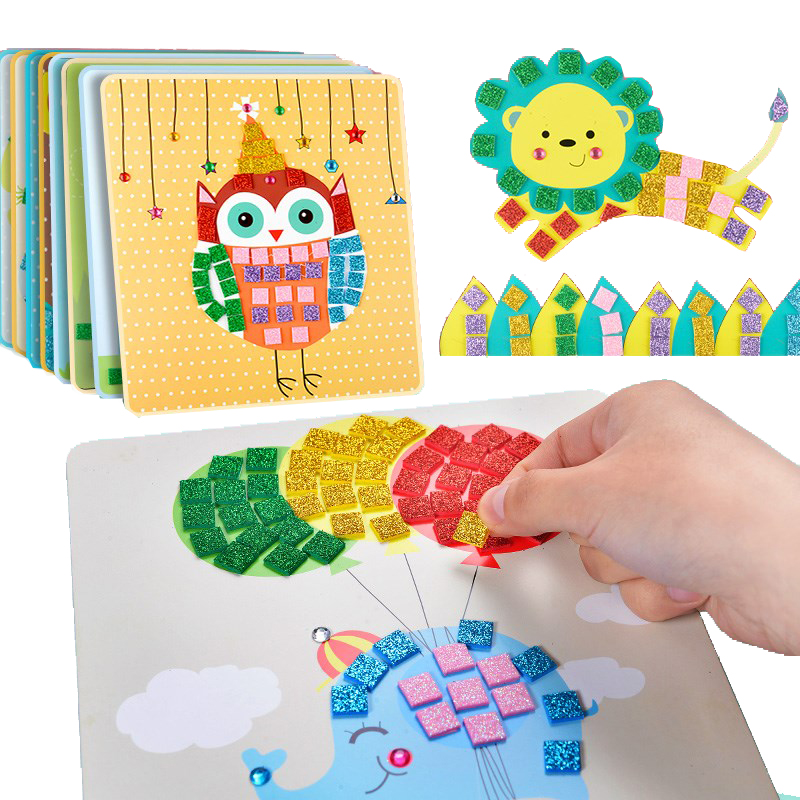 Kids Cartoon Color Mosaic Stickers Jigsaw Puzzle Material Kit Diy Toys For Children Craft Early DIY Educational Toys For Kisd
