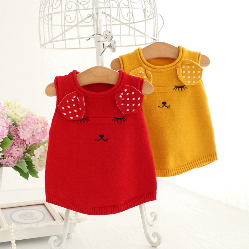 Idea Fish Childrenswear Season Autumn New Style Woollen Sweater Korean-style Girls Cute Ear Vest 9115