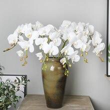 Искусственный шелк белые цветы орхидеи высокое качество Бабочка Моль поддельные цветы для свадебной вечеринки украшения дома праздника
