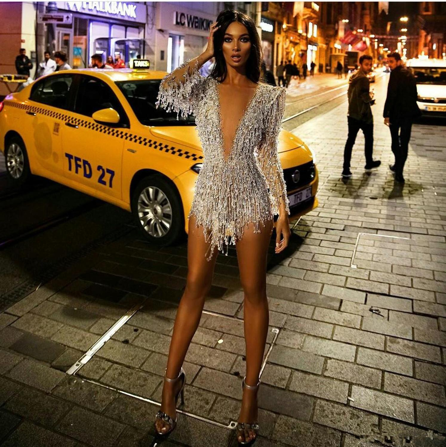 Image 3 - Long Sleeve 2020 Prom Dresses Sexy Short Deep V Neck Crystal Beads Cocktail Dress See Through Sexy Mini Evening GownsProm Dresses   -