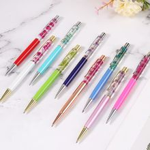 Luxury Metal Dry Flower Ballpoint Pen Signature Writing Pens Black Ink School Office Stationery Student Gift unique black ink resin ballpoint pen classic design luxury pen gold silver clip office school writing stationery supplies gifts