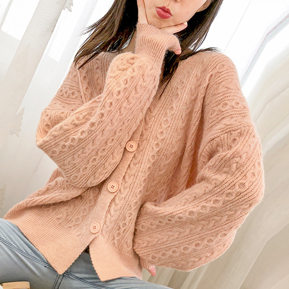 LOOZYKIT Twist Cable Sweaters Coat Flowers Knitted Cardigan Pink Blue White Loose Autumn 2020 V Neck Femme Korean Style Sweater