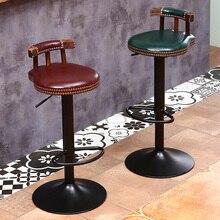 Industrial silla Vintage rústica Retro giratoria barra de Bar taburete de silla con respaldo restaurante Bar Cafe decoración hogareña Cocina