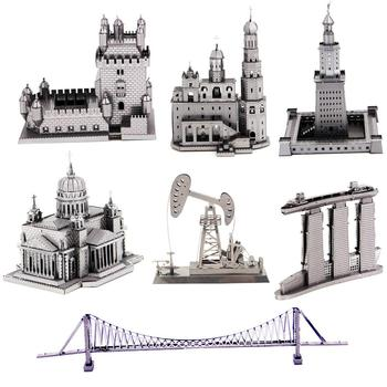 World Famous Building Roller Coaster Cable Car 3D Metal Puzzle Model Kits DIY Laser Cut Assemble Jigsaw Toy GIFT For Children