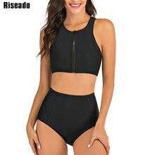 Riseado Sport Swimwear Women 2021 High Waisted Two-piece Swimsuits Black Bikinis Zipper Bathers Bathing Suits Summer Beach