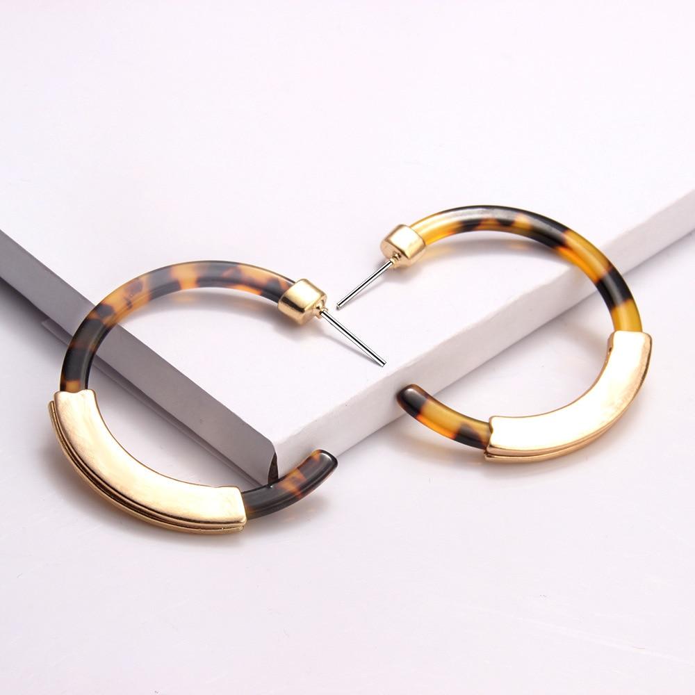 2020 Gold Tortoiseshell Hoop Earrings for Women Acrylic Boho Acetate Earings Fashion Big Bohemian Leopard Korean CC Earrings