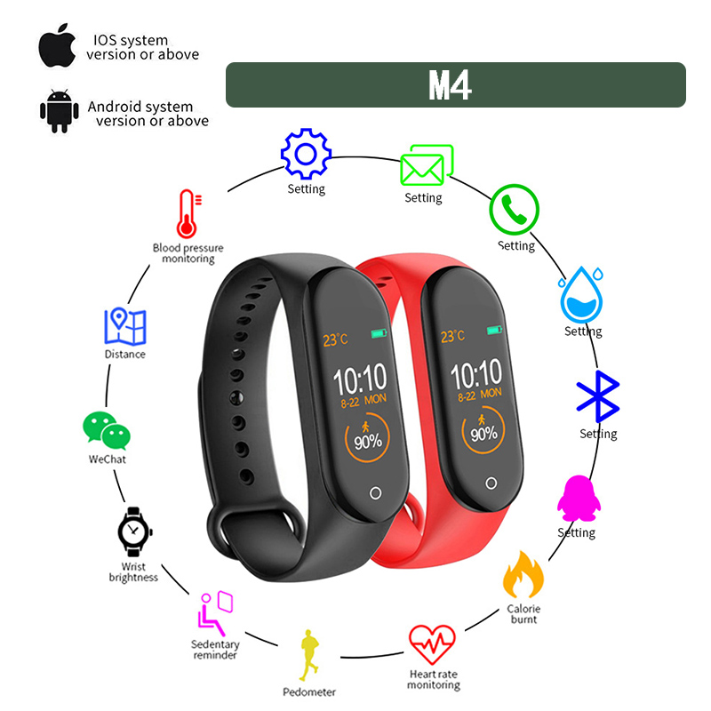 Clock Wristband Watch Blood-Pressure-Monitoring-Tracker Heart-Rate Fitness Bluetooth