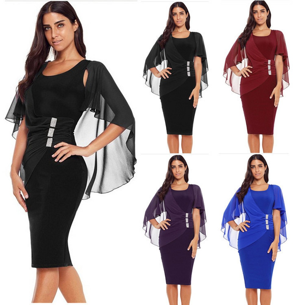 Blue Simple Cocktail Dresses Knee Length Formal Lady Stretch Dress With Chiffon Shawl Burgundy Black Purple Women Dress Cheap