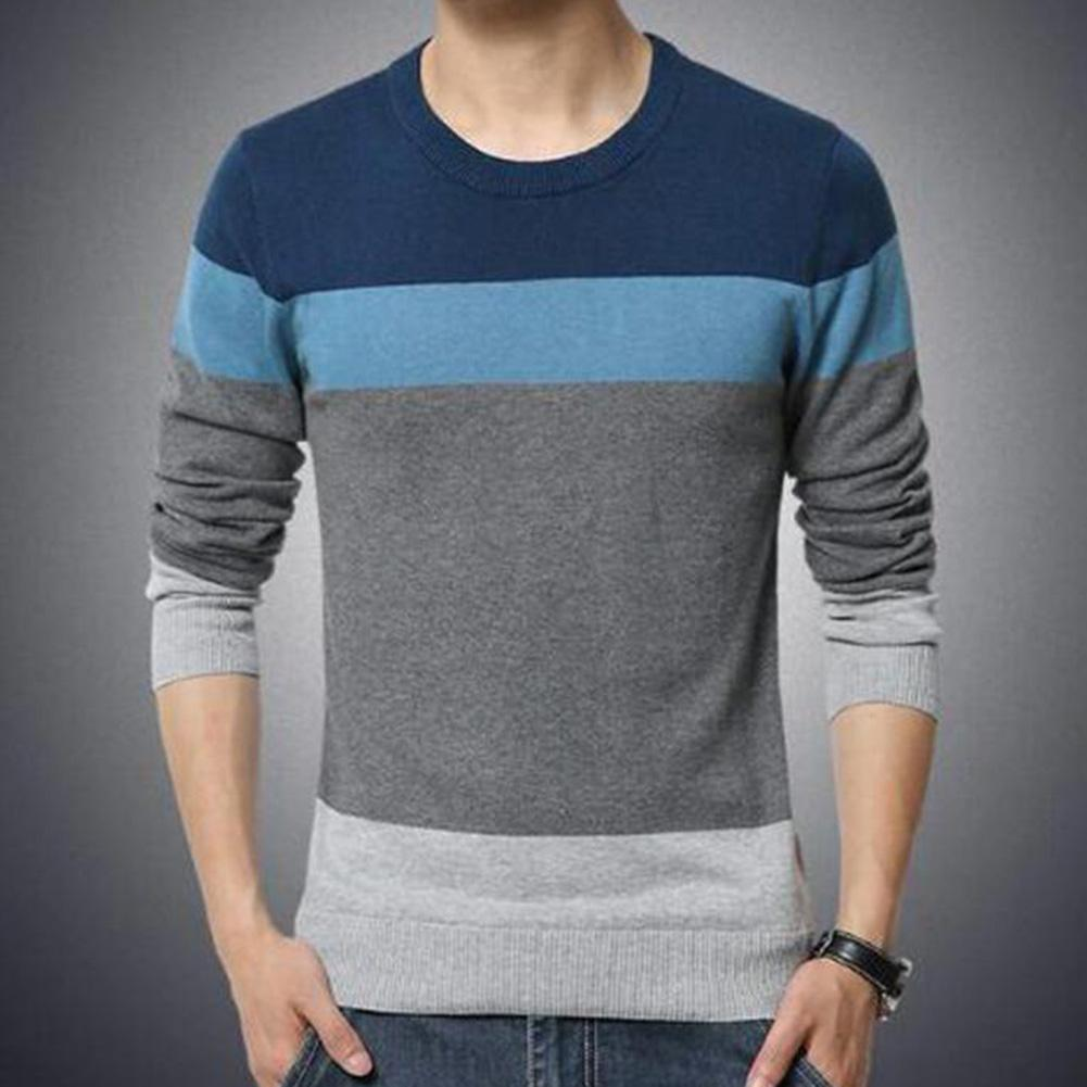 Chic Men Pullovers Color Block O Neck Long Sleeve Slim- Fit Pullover Blouse Knitted Sweater 3