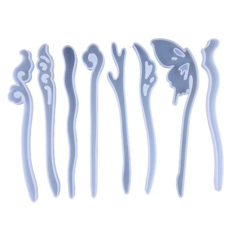 Women Headdress DIY Epoxy Resin Mold Set Silicone Hairpin Mould Girls Hair Jewelry Making Molds