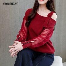 Модная Корейская шифоновая полупрозрачная Сетчатая футболка, женские элегантные длинные стильные базовые Топы, Женские винтажные повседневные футболки с баской