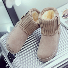 Women Boots Winter Snow Boots With Warm Fur Suede Women's Ankle Boots Non-slip Female Bowtie Warmer Plush Flat Slip On Shoes gray zipper suede ankle slip on women boots