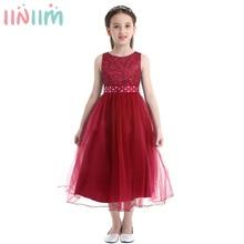 iiniim Teen Princess Dress Girls Vestidos Wedding Lace Mesh Ball Gown Dress Elegant Formal Kids Tutu Birthday Party Dress