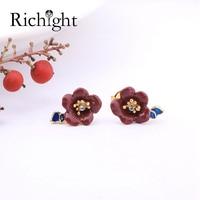 Retro Hand Painted Enamel Jewelry Camellia Gold Small Earrings Dainty Red Flower Pierced Earring S925 Silver Post Stud Earrings