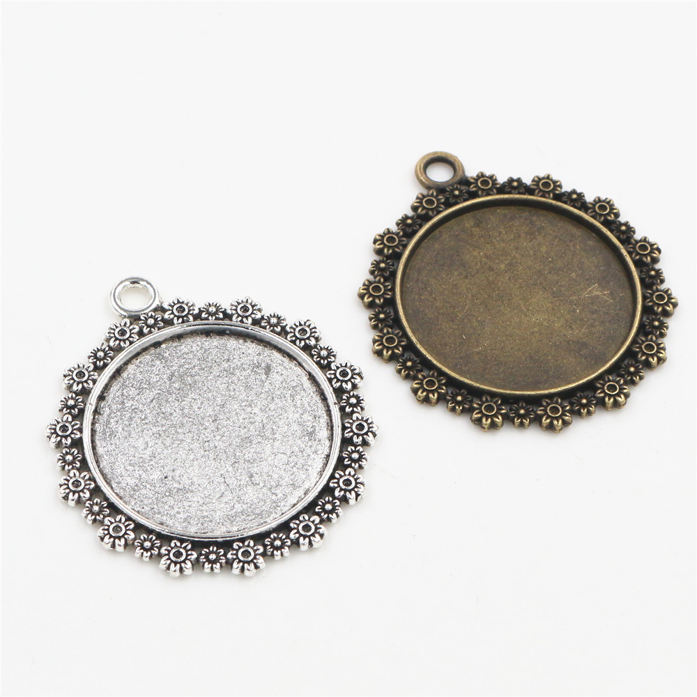 5pcs/lot 30mm Inner Size Antique Bronze And Silver Color Plated Flower Style Cabochon Base Setting Charms Pendant