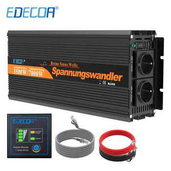 EDECOA 12V 220V 3500W / 7000W peak pure sine wave power solar inverter dc to ac power inverter