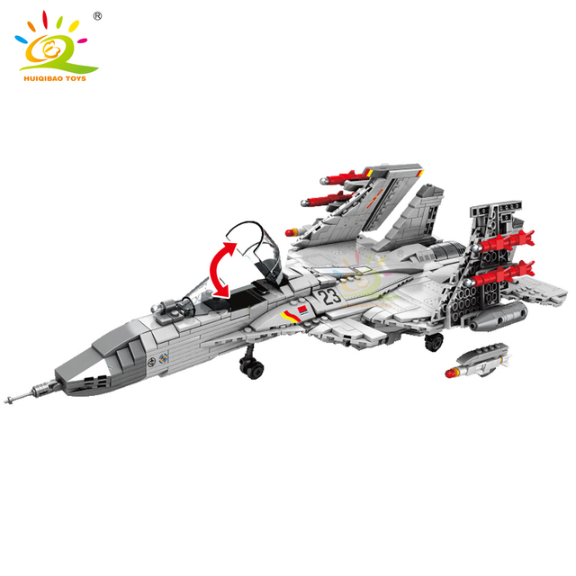 HUIQIBAO 1186PCS J-15 Shipborne Fighter Building Blocks Airplane Military city plane helicopters Brick Construction children toy
